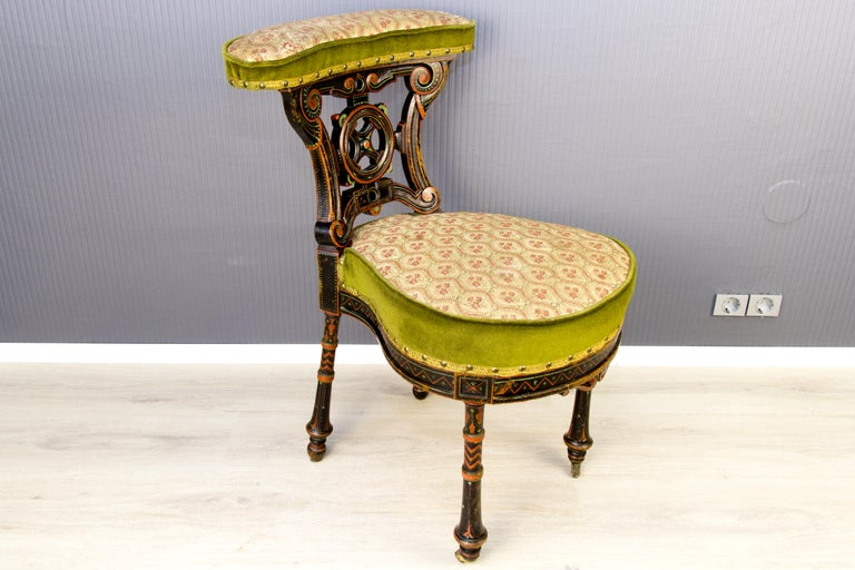 Late 19th Century 19th Century French Carved and Painted Smoking Chair For Sale