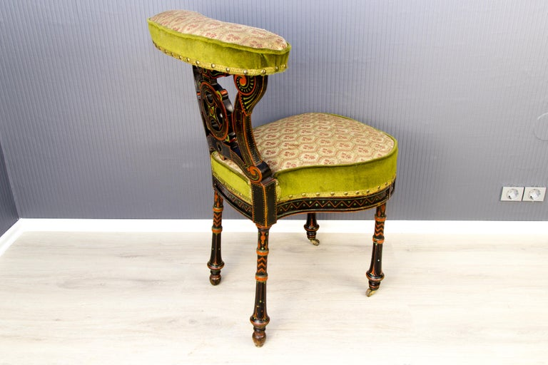 Fabric 19th Century French Carved and Painted Smoking Chair For Sale