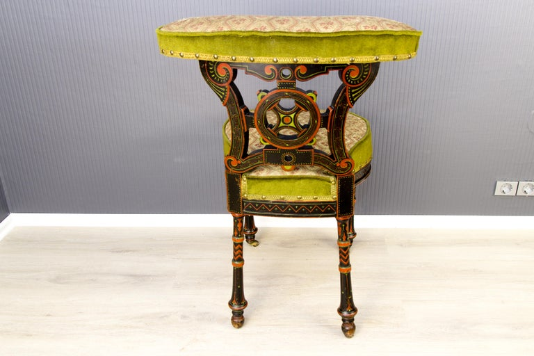 19th Century French Carved and Painted Smoking Chair For Sale 1