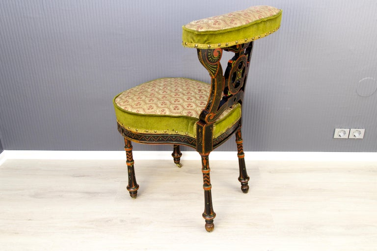 19th Century French Carved and Painted Smoking Chair For Sale 2