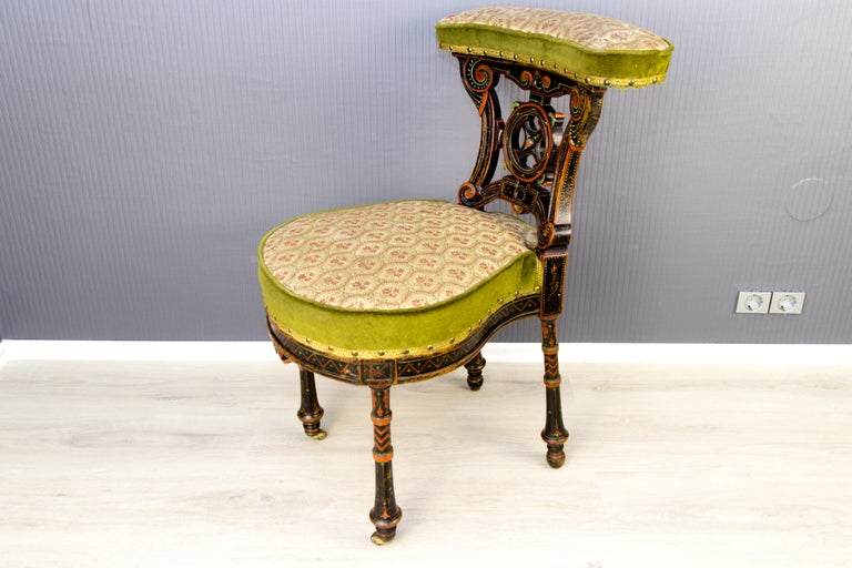 19th Century French Carved and Painted Smoking Chair For Sale 3
