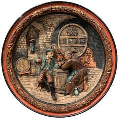 19th Century French Carved and Painted Terracotta Wine Cellar Wall Platter
