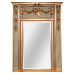 19th Century French Carved and Painted Trumeau Mirror