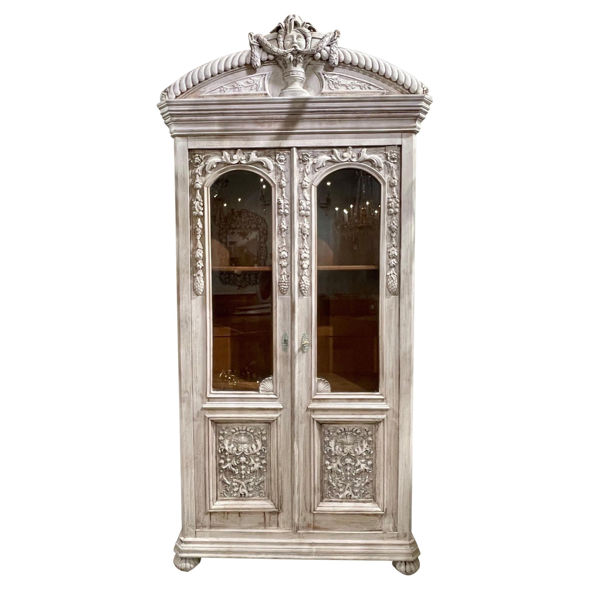 19th Century French Carved and White Washed Oak Cabinet