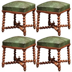 19th Century French Carved Barley Twist Walnut and Leather Stools, Set of Four