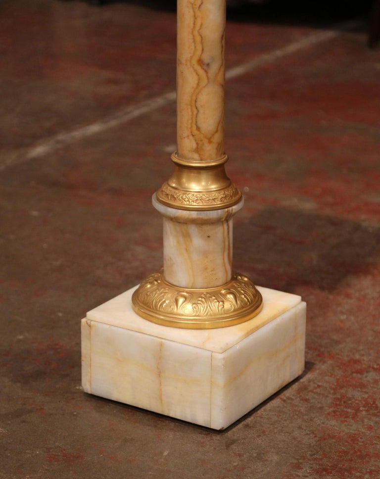 Napoleon III 19th Century French Carved Beige Marble Pedestal Table with Bronze Mounts For Sale
