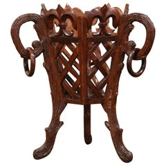 19th Century French Carved Black Forest Walnut Plant Stand with Fleurs de Lys