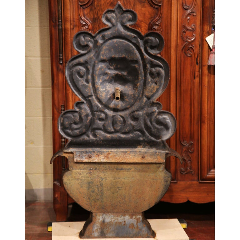 19th Century French Carved Black Cast Iron Fountain with Lion Head  For Sale 2