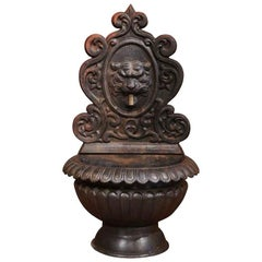 19th Century French Carved Black Iron Fountain with Lion Head and Bronze Spout