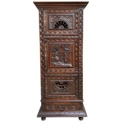 19th Century French Carved Bonnetiere Armoire Cabinet Brittany Breton Wardrobe