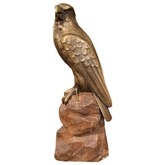 19th Century French Carved Bronze Eagle Sculpture on Stone Base