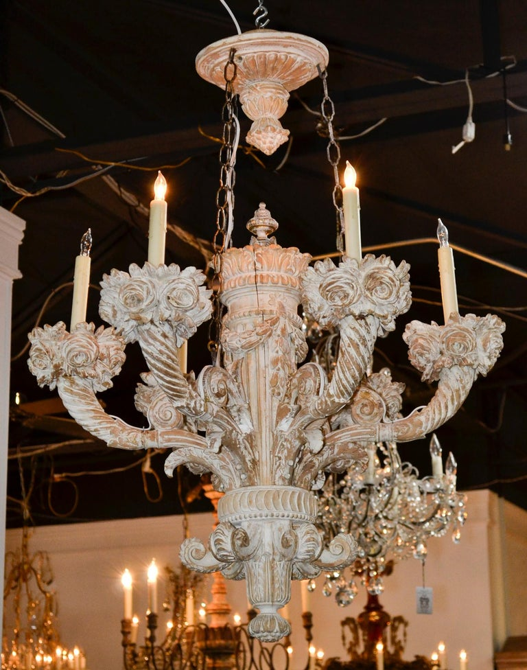 Hand-Carved 19th Century French Carved Chandelier For Sale