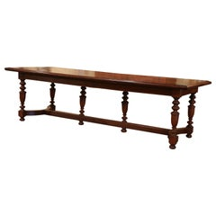 19th Century French Carved Chestnut and Oak Six-Leg Farm Table with Parquet Top
