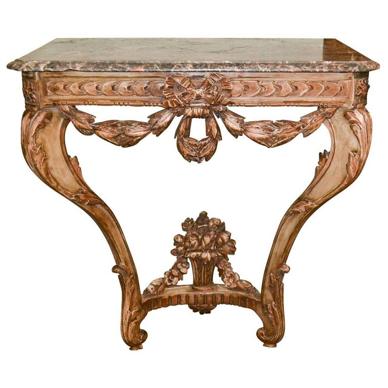 19th Century French Carved Console Table