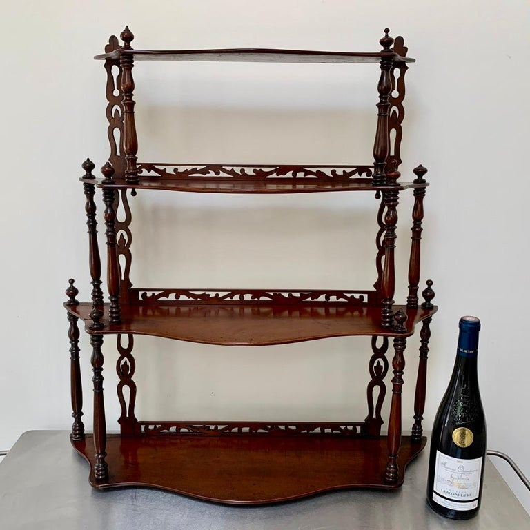 19th Century French Carved Freestanding or Hanging Shelves in Mahogany In Good Condition For Sale In Uppingham, Rutland