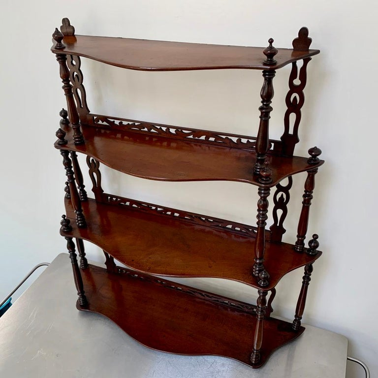 19th Century French Carved Freestanding or Hanging Shelves in Mahogany For Sale 1