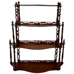 19th Century French Carved Freestanding or Hanging Shelves in Mahogany