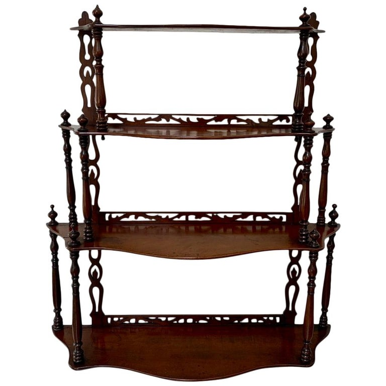 19th Century French Carved Freestanding or Hanging Shelves in Mahogany For Sale