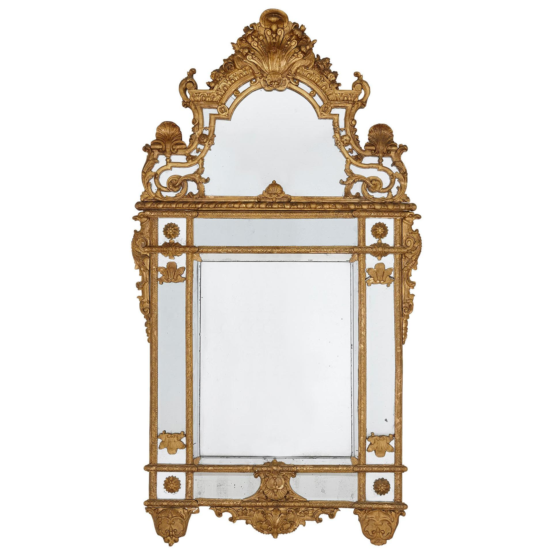 19th Century French Carved Giltwood Mirror in the Régence Style