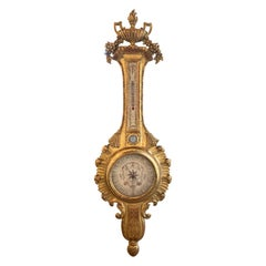 19th Century French Carved Giltwood Barometer