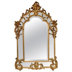19th Century French Carved Giltwood Rococo Mirror