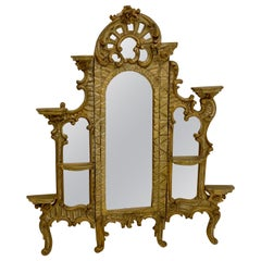 19th Century French Carved Giltwood Triptych Form Mirror