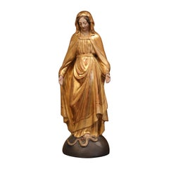 19th Century French Carved Giltwood Virgin Mary Statue on Globe from Provence
