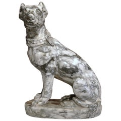 19th Century French Carved Grey and White Marble Dog Sculpture