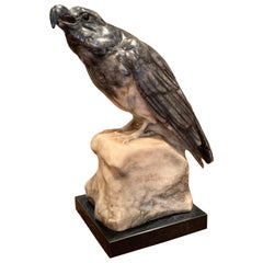 19th Century French Carved Grey Marble Eagle Sculpture on Stand Signed Stuhmer