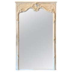 19th Century French Carved Louis XV Style Trumeau Mirror