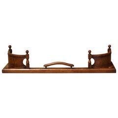 19th Century French Carved Oak and Bentwood Fireplace Fender