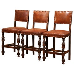 19th Century French Carved Oak and Brown Leather Bar Stools, Set of Three