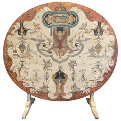 19th Century French Carved Oak and Painted Tilt-Top Wine Tasting Table