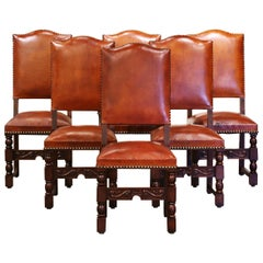 19th Century French Carved Oak and Tan Leather Dining Chairs- Set of Six
