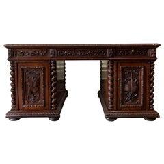 19th Century French Carved Oak Barley Twist Partners Office Desk Renaissance