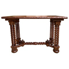 19th Century French Carved Oak Barley Twist Sofa Table Corinthian Renaissance