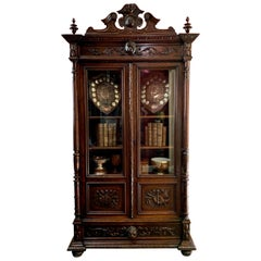 19th Century French Carved Oak Bookcase Cabinet Glass Door Music Renaissance