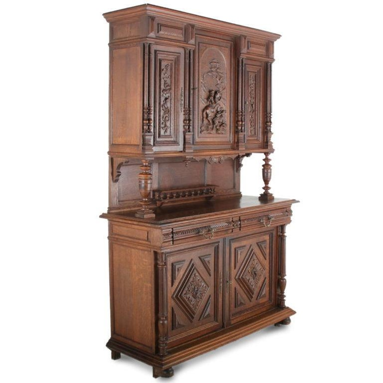 Renaissance Revival 19th Century French Carved Oak Buffet Hutch For Sale
