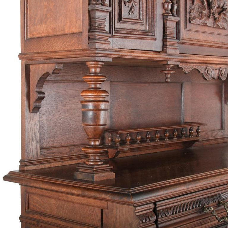 Late 19th Century 19th Century French Carved Oak Buffet Hutch For Sale