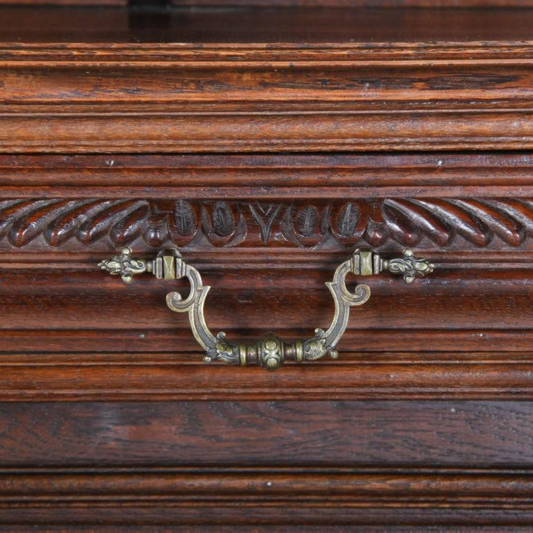 19th Century French Carved Oak Buffet Hutch For Sale 1