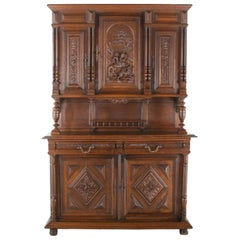 19th Century French Carved Oak Buffet Hutch