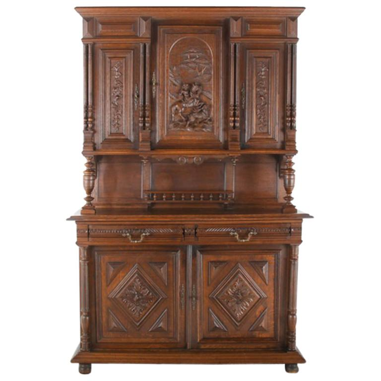 19th Century French Carved Oak Buffet Hutch For Sale