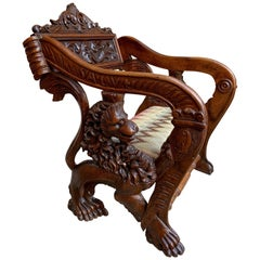 19th Century French Carved Oak Cathedral Altar Chair Gothic Lion Renaissance