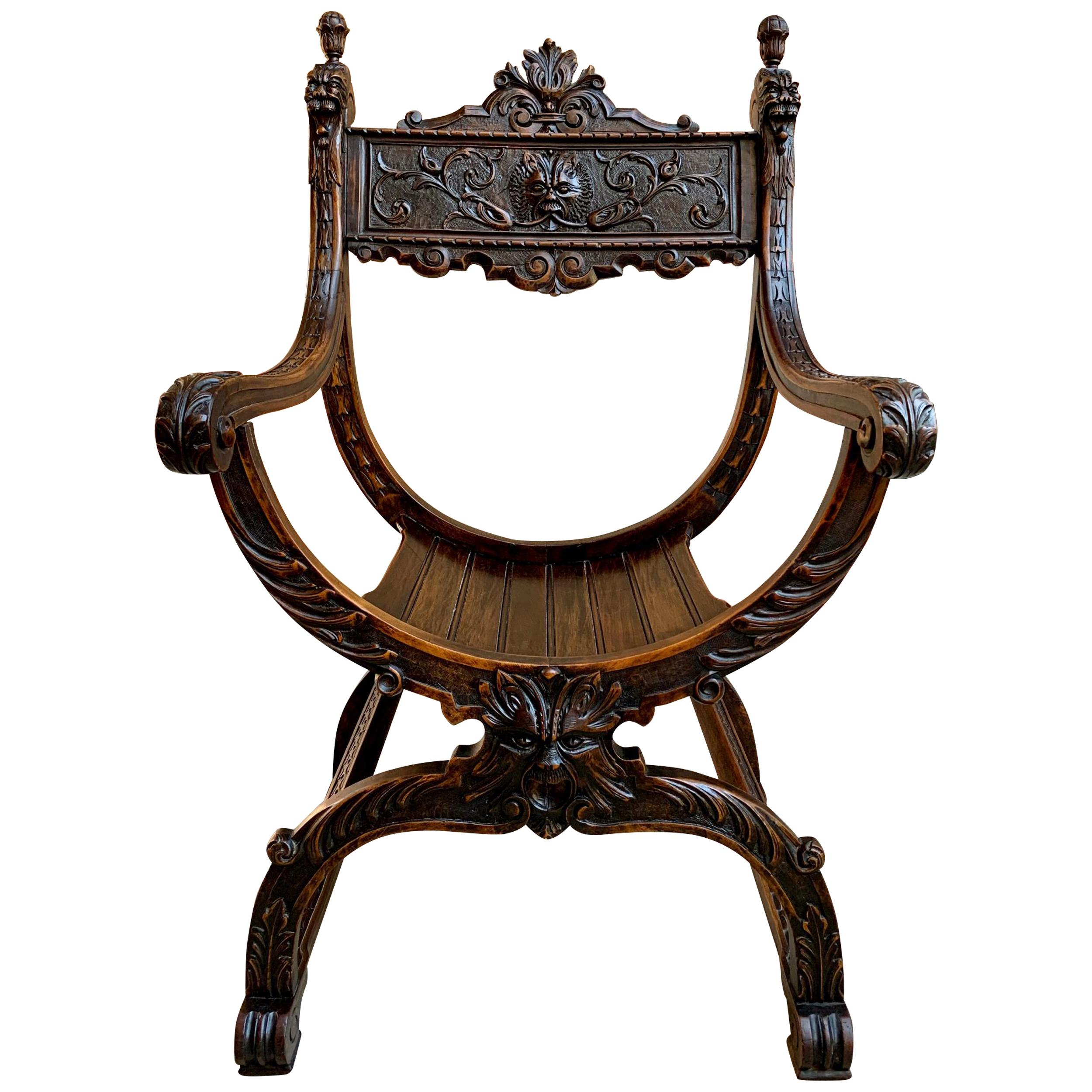 19th Century French Carved Oak Curule Chair Arm Throne Renaissance Dagobert