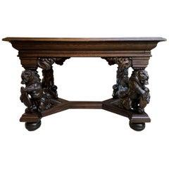 19th century French Carved Oak Desk Library Table Lion Crest Renaissance Baroque