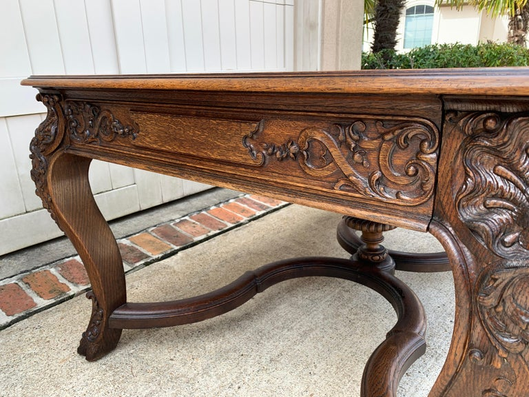 19th Century French Carved Oak Dining Table Louis XIV Baroque Style For Sale 5