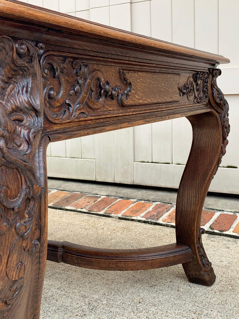 19th Century French Carved Oak Dining Table Louis XIV Baroque Style For Sale 8