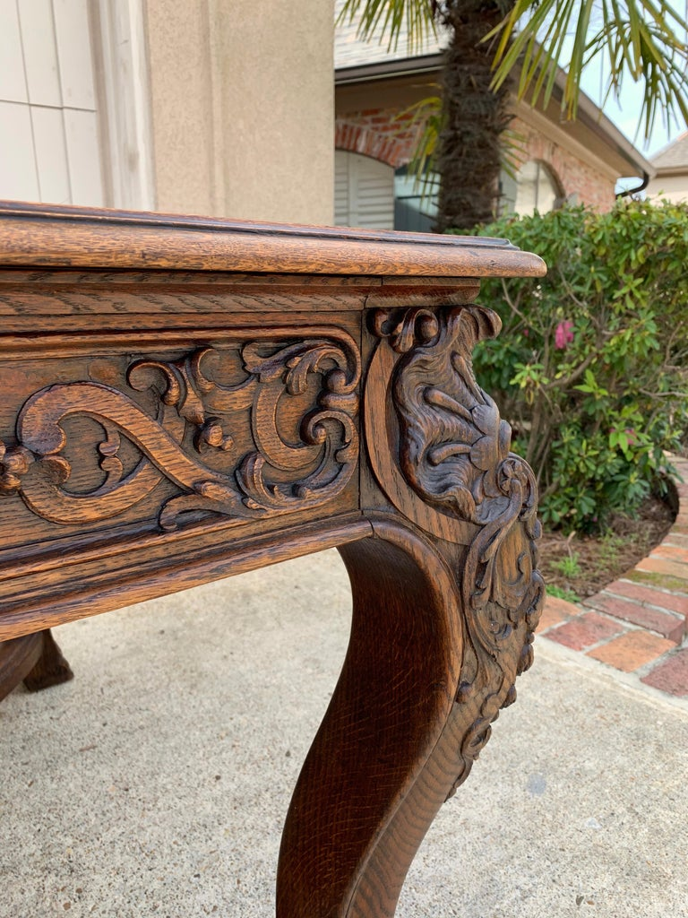 19th Century French Carved Oak Dining Table Louis XIV Baroque Style For Sale 9