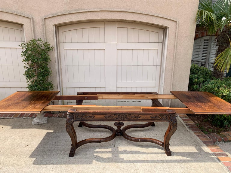 19th Century French Carved Oak Dining Table Louis XIV Baroque Style For Sale 14