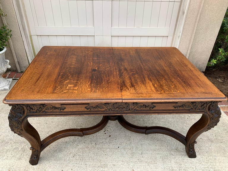 Late 19th Century 19th Century French Carved Oak Dining Table Louis XIV Baroque Style For Sale